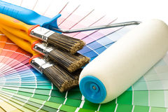 Brushes and paint-roller Royalty Free Stock Photos