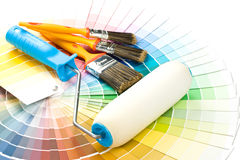 Brushes and paint-roller Royalty Free Stock Images