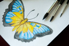 Brushes for painting and drawing butterflies Royalty Free Stock Photography