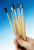 Brushes for painting and hand Stock Photo