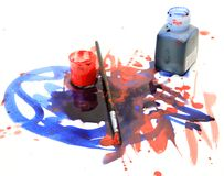 Brushes and paints Stock Image