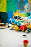 Brushes, paints, palette. Drawing set for Stock Images