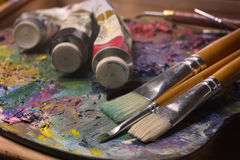 Brushes, paints, pallette Stock Photo