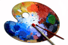 Brushes and palette Royalty Free Stock Photography