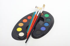Brushes and palette Royalty Free Stock Photos