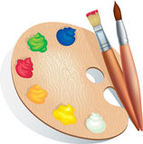 Brushes and palette Stock Photo