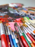 Brushes and palette Royalty Free Stock Image
