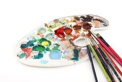 brushes paletten Fotografering för Bildbyråer