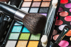Brushes and pallets for make-up Royalty Free Stock Image