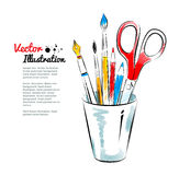 Brushes, pen, pencils and scissors in holder Royalty Free Stock Photos