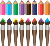 Brushes and pencils. Set of brushes and pencils for drawing and art Royalty Free Stock Image