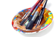 Brushes in a Plate Stock Photo