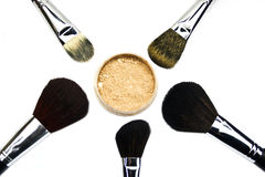 Brushes and powder Stock Photos