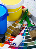 Brushes, rollers of paint rooms Stock Photos