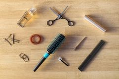 Brushes, scissors and other hair tools. Normal set of items for hair care Royalty Free Stock Photo