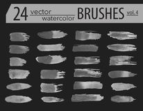 Brushes. Set of dry ink paint. Grunge textured artistic strokes,. Isolated on white background. Stripe paintbrush collection. Vector brush line design elements Royalty Free Stock Images