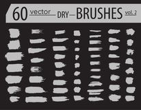 Free Brushes. Set Of Dry Ink Paint. Grunge Textured Artistic Strokes, Vector Design. Hand Drawn Brushes. Isolated On Black Background. Royalty Free Stock Images - 110503439