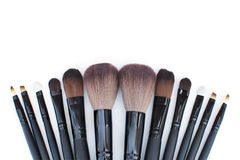Brushes set for professional makeup artist Stock Photography