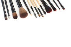 Brushes set for professional makeup artist Stock Photos
