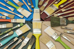 Brushes. Several brushes painting and decorating in a circle Stock Photo