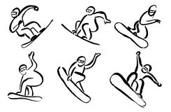 Brushes snowboarders Royalty Free Stock Photos