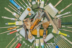 Brushes and spatulas. Of different colors and sizes Royalty Free Stock Photo