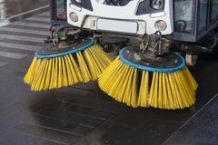 Brushes of street sweeper. Close-up of the brushes of street sweeper Stock Photos