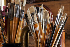 Brushes in the studio Stock Photography