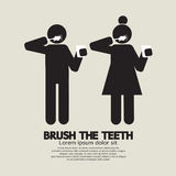 Brushes The Teeth Black Symbol Stock Photo