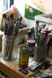 Brushes and tempera Royalty Free Stock Photography