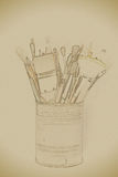 Brushes on the tin can. Vintage painting, background illustration, beautiful picture, texture royalty free illustration