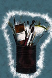 Brushes on the tin can. Vintage painting, background illustration, beautiful picture, texture stock illustration