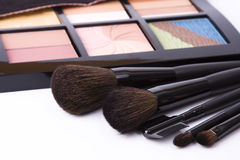 Brushes to make-up and eye shadow Stock Images