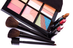Brushes to make-up and eye shadow Royalty Free Stock Image