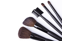 Brushes to make-up on white background Stock Photography