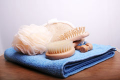 Brushes and Towel Royalty Free Stock Images