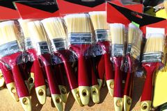 Brushes for wall paint blister in market Royalty Free Stock Photography