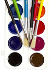 Brushes and watercolors. On white Royalty Free Stock Photography