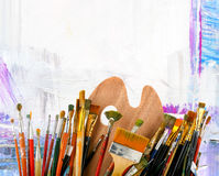 Brushes With A Palette Royalty Free Stock Image