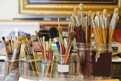 Brushes in workshop Stock Images