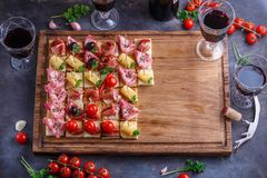 Brushetta or authentic traditional spanish tapas set for lunch table. Sharing antipasti on party or summer picnic time stock image