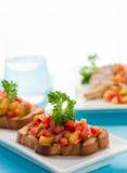 Brushetta with mango salsa Royalty Free Stock Photography