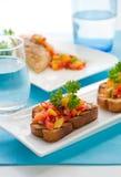 Brushetta with mango salsa Royalty Free Stock Images