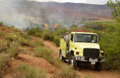 Brushfire. A brushfire  burns on public land in the high desert of Utah Stock Image