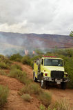 Brushfire. A brushfire burns on public land in the high desert of Utah Stock Photos