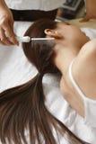 Brushing Beautiful Woman Long Hair. Hair Beauty Treatment. Hair Care. Closeup Of Cosmetologist Brushing Woman's Beautiful Healthy Long Hair With Comb For Keratin Stock Photography