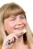 Brushing braces Stock Photo