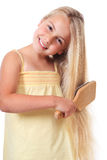 Brushing hairs Stock Photo