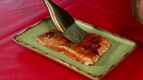 Brushing Sauce on Salmon stock footage