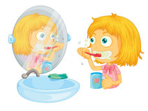 Brushing teeth. Illustration of girl brushing her teeth Royalty Free Stock Photos